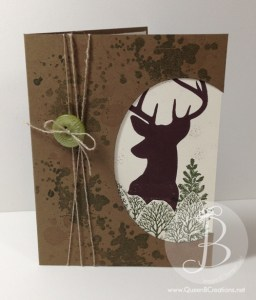 Handmade card - deer in the woods