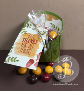 Stampin' Up! fry box, decorated with Fall Leaves (for all things) and filled with M&Ms as a cute gift idea.