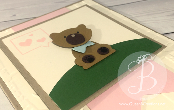 Teddy Bear punch art handmade card made with the Stampin' Up! Fox Builder Punch by Queen B Creations