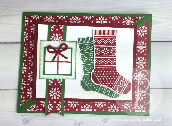 Stampin' Up! Fancy Fold Christmas card using Hang Your Stockings stamp set and matching framelits from the 2016 Holiday Catalog by Queen B Creations