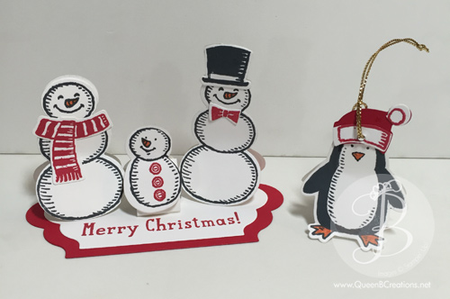 Stampin' Up! Snowman kiss tents made using Snow Place stamp set and Hershey Kisses by Queen B Creations