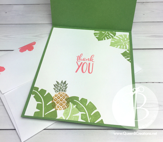 A flamingo & flowers hand stamped card made with Stampin' Up! Pop of Paradise stamp set and Botanical Flowers thinlits by Queen B Creations