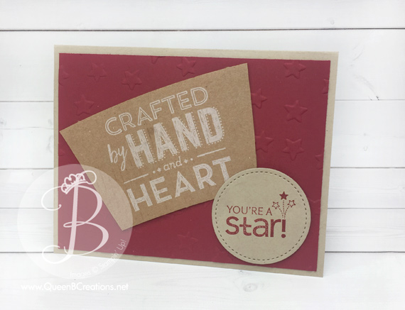 Handmade Stampin' Up! card made using Totally Tess & Bravo stamp sets and the sleeve from a Starbucks coffee cup by Queen B Creations