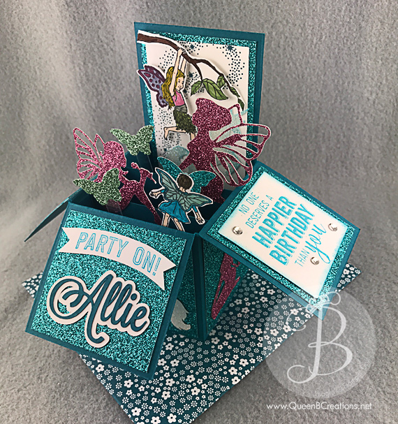 Stampin' Up! birthday card in a box in Bermuda Bay using Fairy Celebrations, Balloon Adventures and Star of Light stamp sets by Queen B Creations