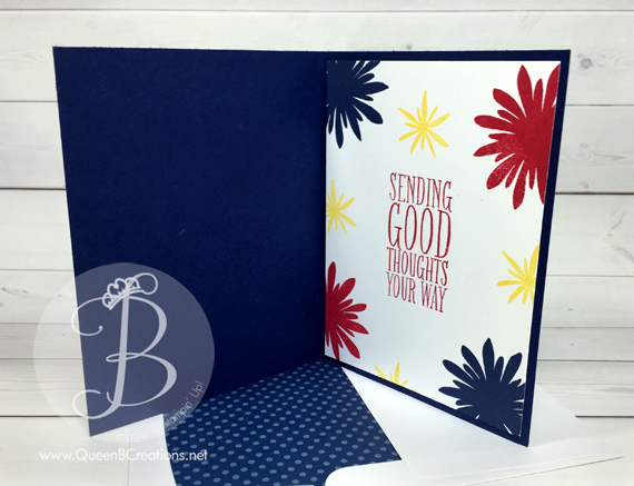 Fourth of July fireworks card made with Stampin' Up! Flower Patch stamp set by Queen B Creations