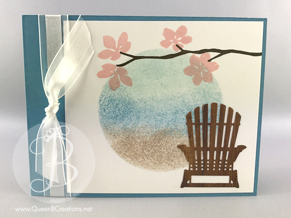 Stampin' Up! Colorful Seasons bundle handmade card featuring the adirondack chair under floral blooms by Queen B Creations