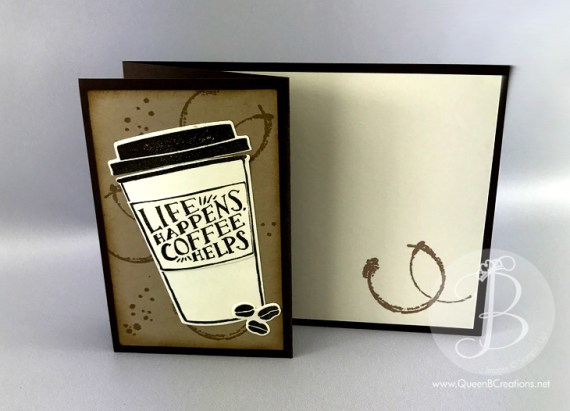 coffee cafe bundle by Stampin' Up! is used to create this awesome z fold card by Queen B Creations