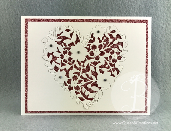 Stampin' Up! Bloomin Heart Thinlit die over pink glimmer paper makes for a beautiful wedding or anniversary card by Queeen B Creations