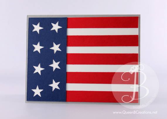 US Flag card using punch art and For Your County stamp set by Queen B Creations