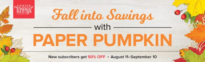 half off paper pumpkin promotion from Stampin' Up! and Queen B Creations