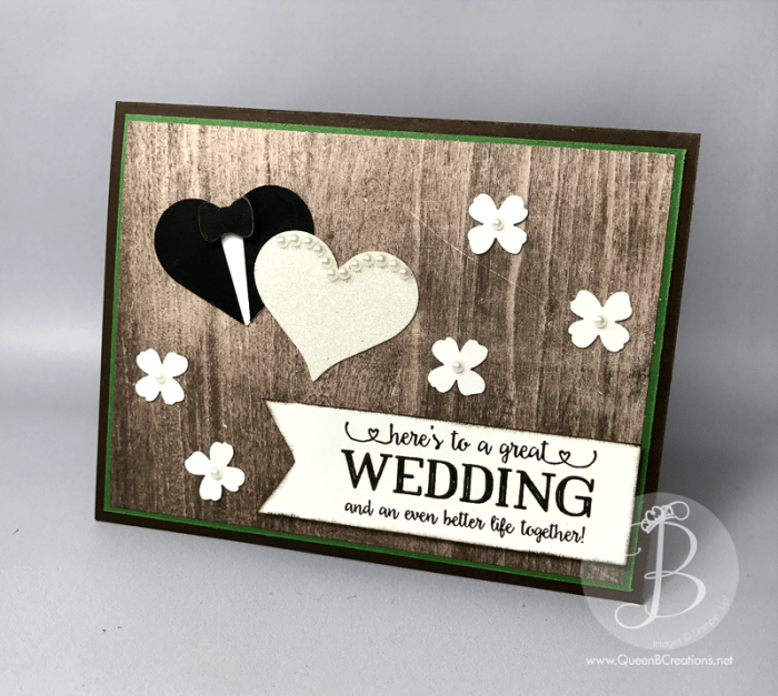 Rustic Wedding day card made using Stampin' Up! Better Together stamp set and the wood textures DSP by Queen B Creations
