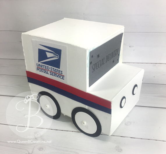 Postal mail truck stampin' up! 3D gift box idea by Queen B Creations