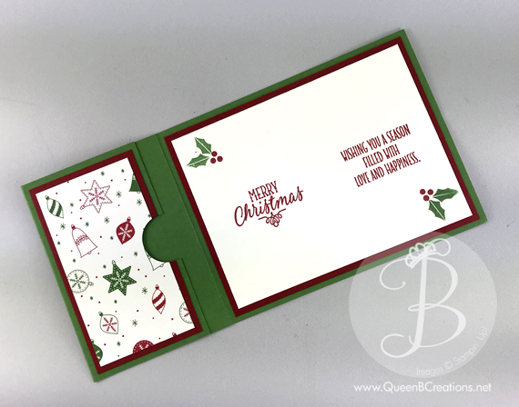 Christmas stocking gift card holder Stampin' Up handmade card by Lisa Ann Bernard of Queen B Creations