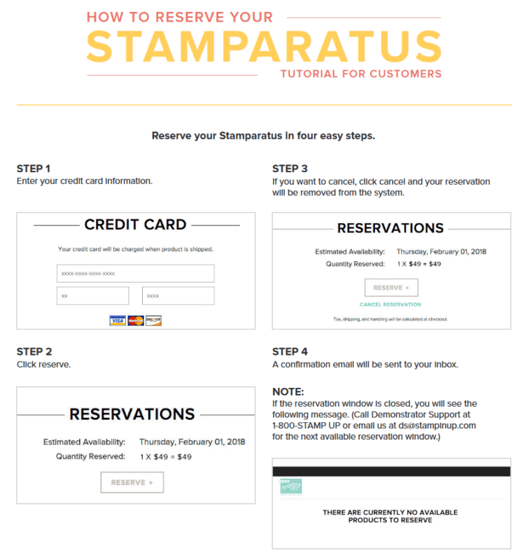 instructions on how to order your Stampin' Up! Stamparatus from Queen B Creations