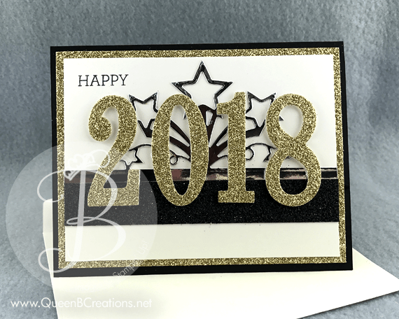 Stampin' Up! Large Number Framelit Dies Happy New Year 2018 glitter handmade card by Lisa Ann Bernard of Queen B Creations