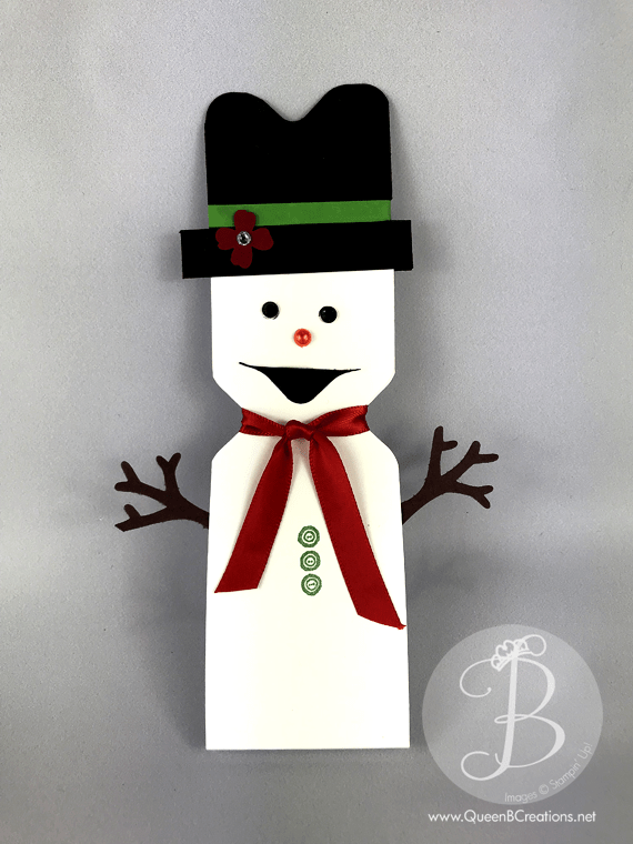Hershey miniature snowman made with stampin up envelope punch board by Lisa Ann Bernard of Queen B Creations