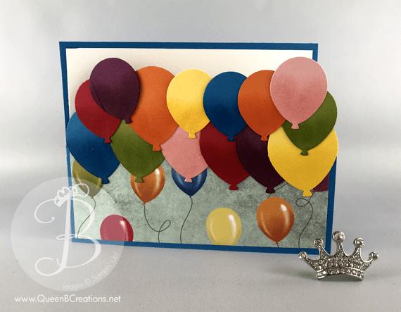 Stampin' Up! balloon bouquet handmade birthday card by Lisa Ann Bernard of Queen B Creations