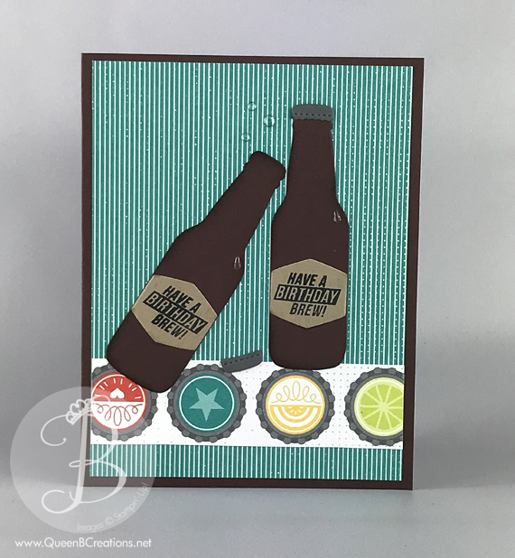 Stampin' Up! Bubble Over Beer Bottle Birthday Card by lisa Ann Benard of Queen B Creations