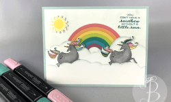 2018 Stampin Up occasions sushine and rainbows builder magical day unicorn and rainbow card by Lisa Ann Bernard of Queen B Creations
