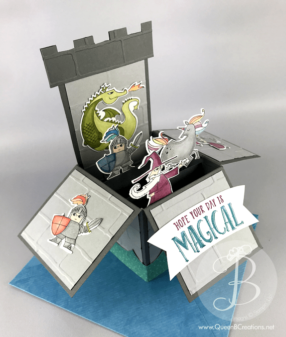 Stampin' Up! Magical Day Castle card in a box made by Lisa Ann Bernard of Queen B Creations with unicorns, knights, dragon, mermaids & a wizard