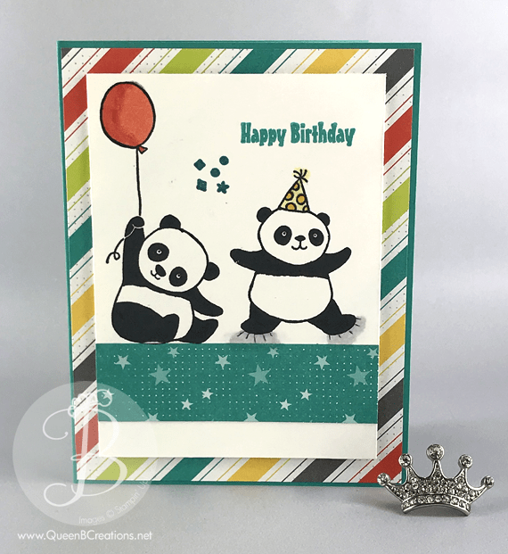 Stampin' Up! Party Pandas and Bubbles and Fizz DSP 2018 Sale-A-Bration items by Lisa Ann Bernard of Queen B Creations