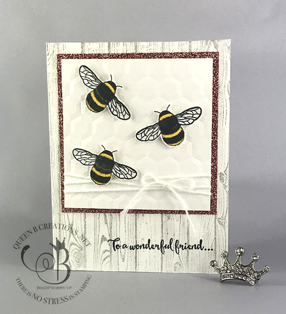 Stampin' Up! Dragonfly Dreams Hardwood Hexagons Dynamic TIEF with glimmer paper.  Handmade card made by Lisa Ann Bernard of Queen B Creations.