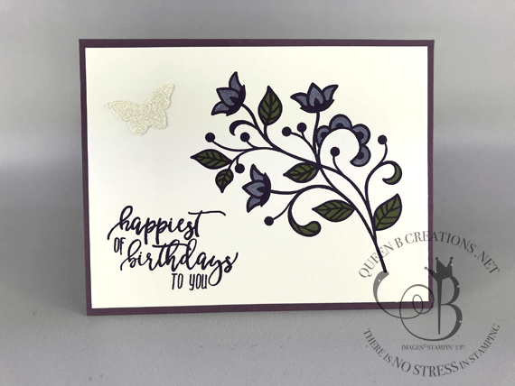 Stampin' Up! Flourishing Phrases and Picture Perfect Birthday handmade birthday card by Lisa Ann Bernard of Queen B Creations