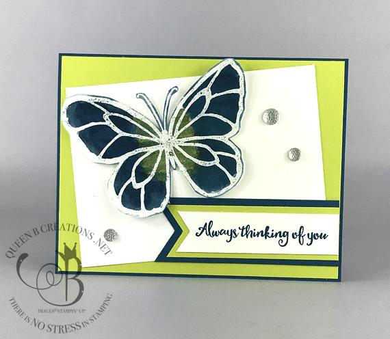 Stampin' Up! Beautiful Day Brusho Butterfly handmade card by Lisa Ann Bernard of Queen B Creations