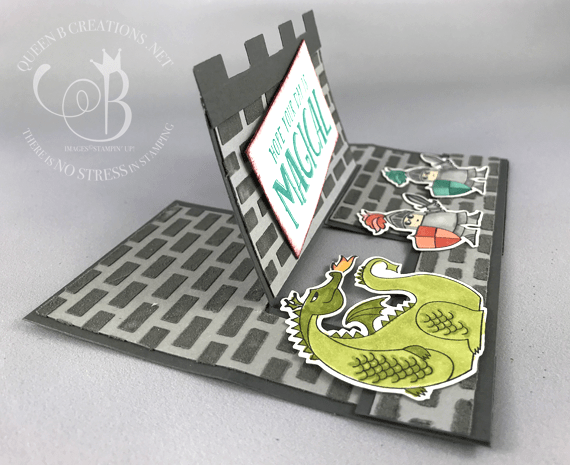 Stampin' Up! fancy fold impossible card castle card using Magical Day stamp set a Myths and Magic creation by Lisa Ann Bernard of Queen B Creations