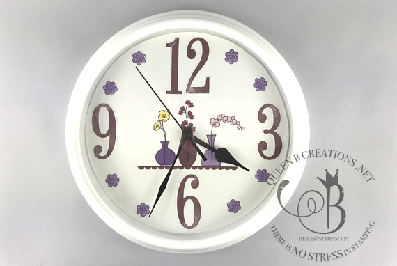 Stampin' Up! Varied Vases clock makeover by Lisa Ann Bernard of Queen B Creations