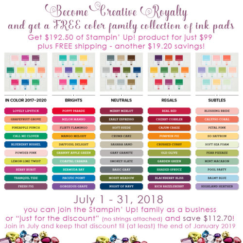 Stampin' Up! starter kit special - FREE set of ink pads in July 2018