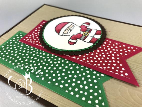 Stampin Up Cookie Cutter Christmas Santa handmade card by Lisa Ann Bernard of Queen B Creations