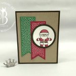 Stampin Up Cookie Cutter Christmas Santa handmade card by Lisa Ann Bernard of Queen B Creations