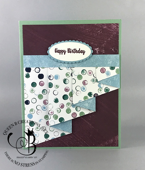 Stampin' Up1 drapery fold handmade card. Sentiment is from the Woderful Moments stamp set. By Lisa Ann Bernard of Queen B Creations.