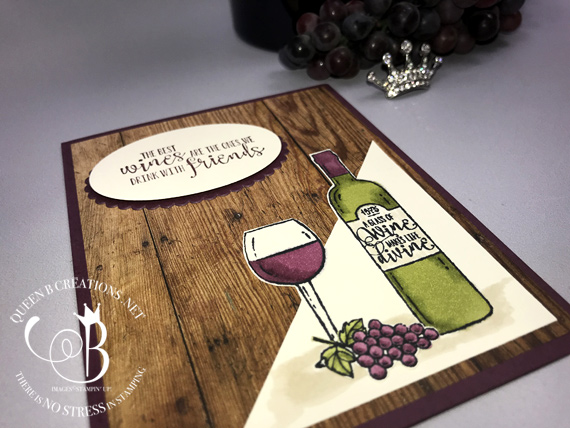 Stampin' Up! Half Full wine lovers handmade card for wine lovers made by Lisa Ann Bernard of Queen B Creations