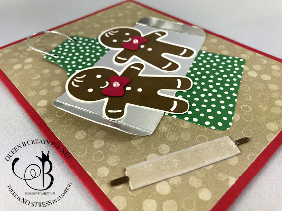 Stampin' Up! Cookie Cutter Christmas gingerbread men on a cookie sheet and Apron Builder framelit dies by Lisa Ann Bernard of Queen B Creations