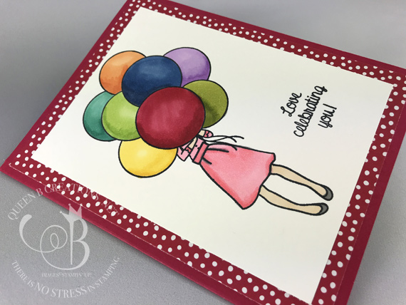 Stampin' Up! Hand Delivered Host stamp set birthday balloons card colored with Stampin' Blends by Lisa Ann Bernard of Queen B Creations
