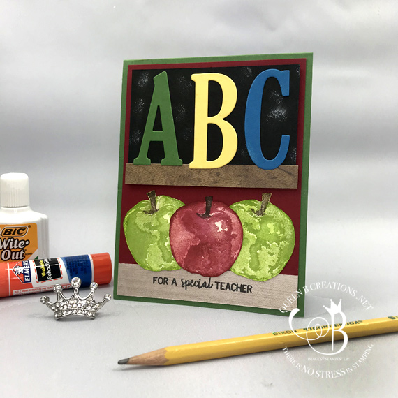 Stampin' Up! Large Letters framelits and Picked For You stamp set handmade card for teacher by Lisa Ann Bernard of Queen B Creations