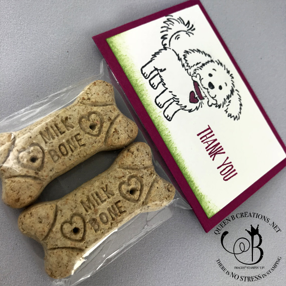 Stampin' Up! Bella & Friends milk bone gift bag for dog by Lisa Ann Bernard of Queen B Creations