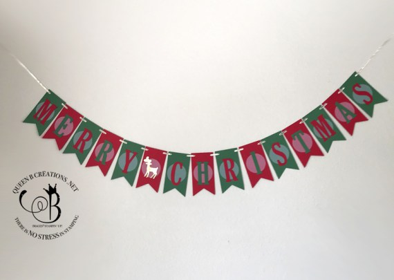 Stampin' Up! Large Letters Framelit Dies Merry Christmas Banner by Lisa Ann Bernard of Queen B Creations