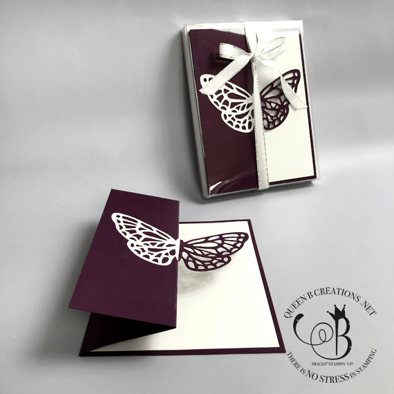 Stampin' Up! Butterfly Springtime Impressions Thinlit Die fancy fold card set by Lisa Ann Bernard of Queen B Creations