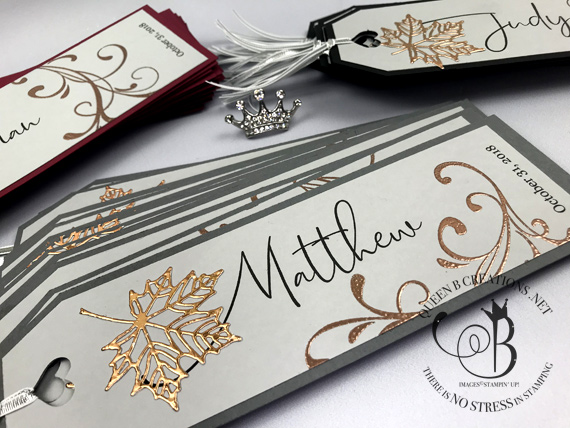 Stampin' Up! Wedding Bookmark Seating Placecards by Lisa Ann Bernard of Queen B Creations