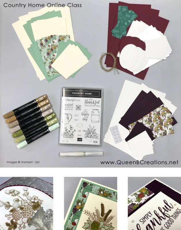 Online Class by Queen B Creations using the Stampin' Up! Country Home stamp set, Stampin' Blends and Wink of Stella