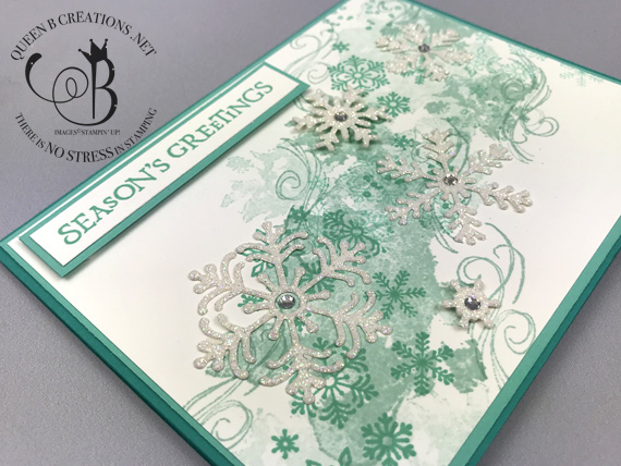 Stampin' Up! Beautiful Blizzard Christmas card with snowflakes by Lisa Ann Bernard of Queen B Creations