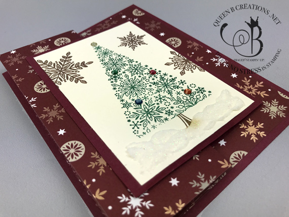 Stampin' Up! Snowflake Showcase Snow is Glistening stamp set Christmas card by Lisa Ann Bernard of Queen B Creations