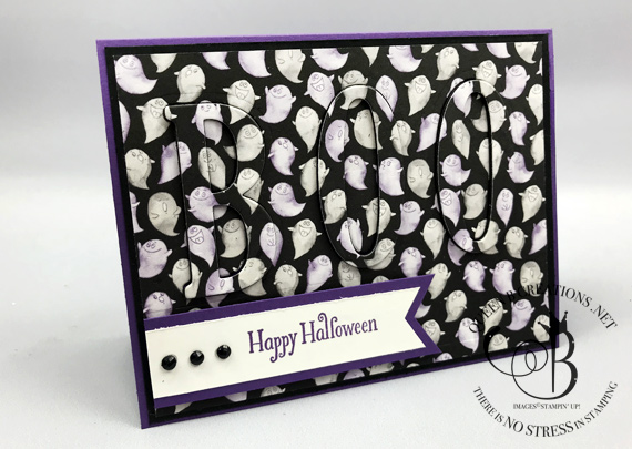 Toil & Trouble Eclipse Technique BOO Halloween card by Lisa Ann Bernard of Queen B Creations