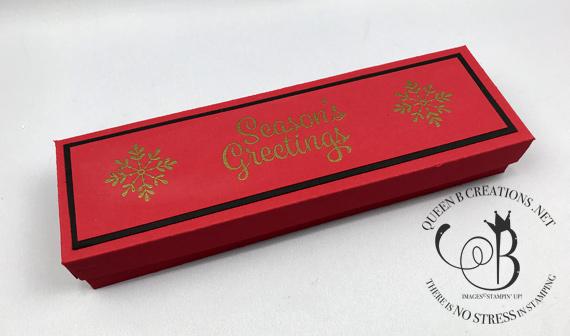 Stampin' Up! Large Letter Framelit Dies Ho Ho Ho Christmas gift box by Lisa Ann Bernard of Queen B Creations