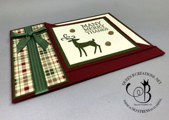 Stampin' Up! Dashing Deer Many Merry Thanks corner fold handmade card by Lisa Ann Bernard of Queen B Creations
