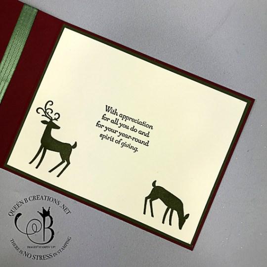 Stampin' Up! Dashing Deer Many Merry Thanks corner fold handmade card by Lisa Ann Bernard of Queen B Creations
