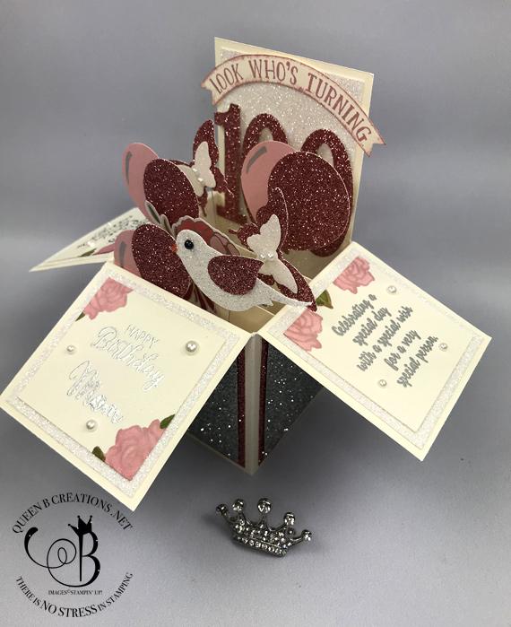 Stamipn' Up! Card in a Box 100th birthday card by Lisa Ann Bernard of Queen B Creations